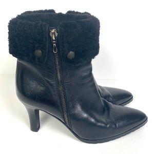 BALLY Black Designer Leather Authentic Heel Bootie